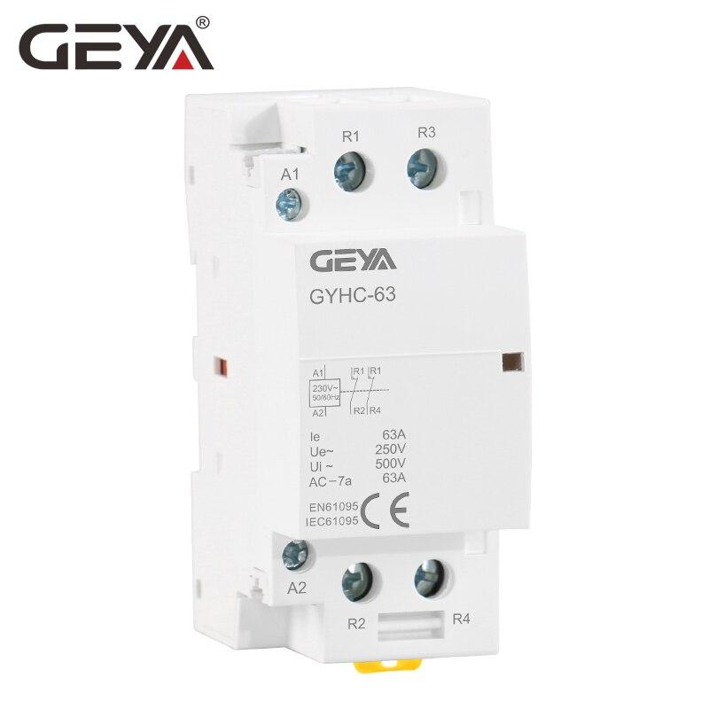 Livraison Gratuite GEYA 2 p 63A 2NO ou 2NC Modulaire Contacteur DIN Rail De Montage AC220V 230 v Automatique