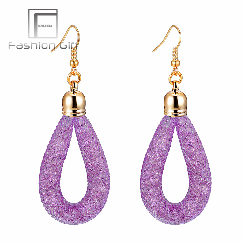 Charming Purple Crystal Drops Earrings For Women Girls Gift Full Crystal Mesh Earrings 13 Colors Choose
