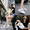 2016 Women Mesh Hollow Loafers Casual Shoes Womens Platform Wedges Breath Flats Sandalias Zapatos Mujer Fashion  Walking Shoes