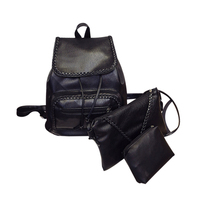 3Pcs Set Mini Leather Backpack Women Small Backpack Drawstring Bag School Bags For Girls Black Shoulder