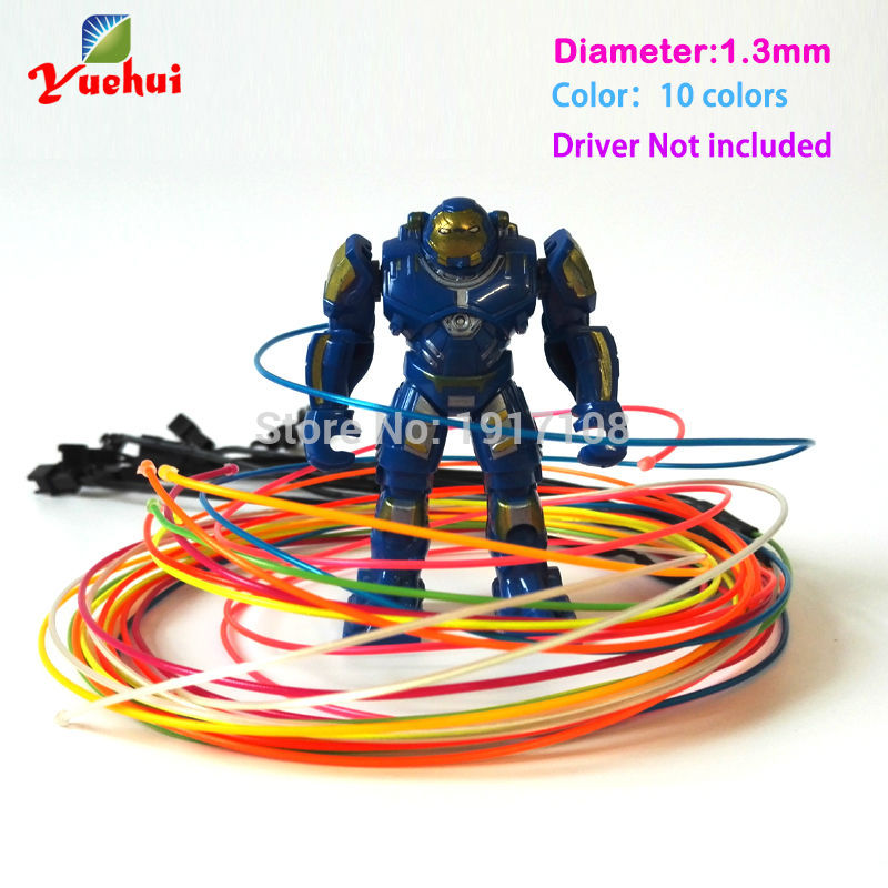 10 Color Choice 1.3mm Red EL Wire Rope Tube Flexible Neon Light Not Include The Controller For Toys Craft Party Decoration