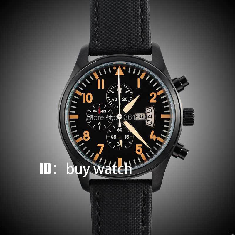 42mm parnis black dial orange numbers gun big week PVD case vintage style day date quartz Full chronograph mens watch 136 46mm corgeut gray dial pvd case tripe day quartz chronograph mens watch c30
