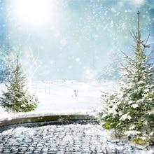 цены Laeacco Winter Backdrops Shiny Heavy Snow Snowflake Pine Christmas Tree Outdoor Scenic Photo Backgrounds Photocall Photo Studio