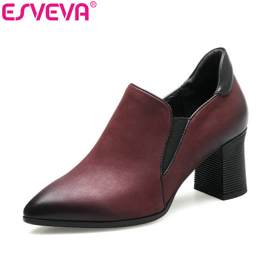 ESVEVA 2018 Women Pumps Genuine Leather+PU Pointed Toe Dress Shoes British Style  Slip on Square High Heel Pumps Big Size 34-42 esveva 2017 new pointed toe pu women pumps lace up british style fashion shoes women spring square high heel pumps size 34 39