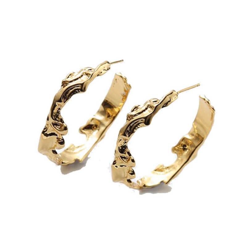 SRCOI Fashion Gold Metal Abstract Irregular Big Hoop Earrings Open Round Geometric Circle Minimalist Earrings For Women Party