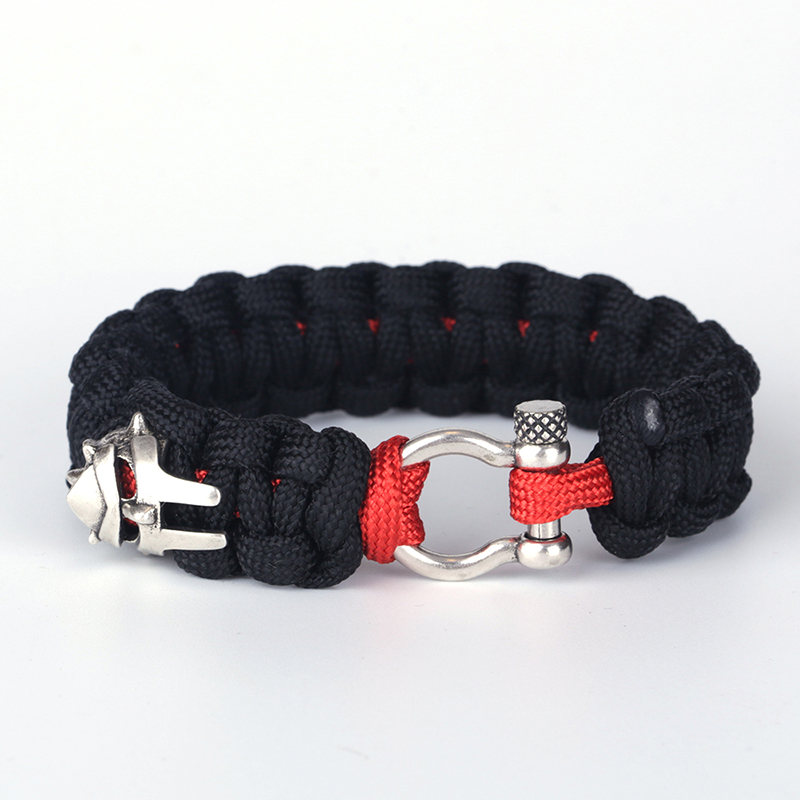dankaishi Wholesale Metal Iron Man Bracelets Braided Unisex Dark Cotton Thread Bracelets for Men Women Sporty Jewelry Pulseras