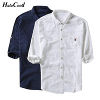 New Chinese Style Men's Large Size 5 Cufflinks Buttoned Shirt Linen Collar Vintage Ethnic Chinese Cotton Tang Tops Spring Summer