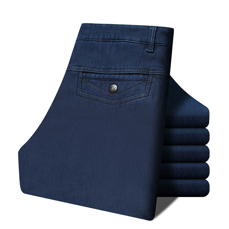 Loldeal 2018 Winter Men's Warm Thick Plus Cashmere Jeans Comfortable Cowboy Casual Trousers High Waist Middle-aged Jeans Blue