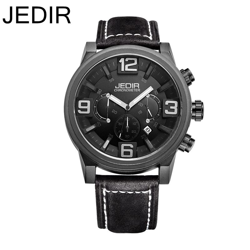 JEDIR Brand Fashion Men watch Military Sports Men Quartz watches Auto Date Clock Man Genuine Leather Strap Casual WristWatch  jedir brand men sports watches 2017 genuine leather military wristwatch racing men chronograph watch male glow hands clock
