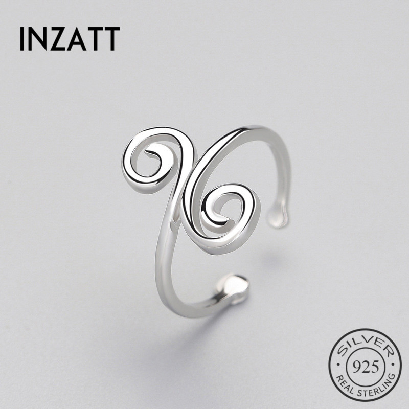 INZATT Genuine 925 Sterling Silver Hollow Cloud Ethnic Adjustable Ring Minimalist Fine Jewelry For Women Party Personality Gift
