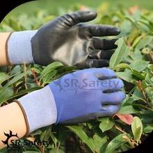 SRSAFETY 4 Pairs 18 калибровочных нейлона лайнера покрытием pu на plam перчатки, синий/черный, сад перчатки
