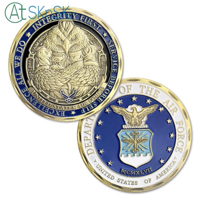 1-10 pz Antiquariato bronzato placcato aquila monete design Esclusivo Unite Uniti dipartimento del Air Force sfida monete souvenir