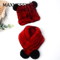 MAXMESSY Lovely Baby Genuine Rex Rabbit Fur Hat With Scarf Warm Winter Cap For Kids Knitted Beanies Hats With Fur Pom Poms N209