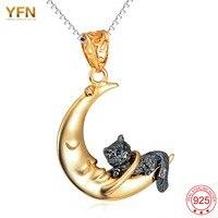 YFN 2016 New 925 Sterling Silver Jewelry Cat Pendant Necklace Colar Gargantilha Wholesale Collier Sautoir Long