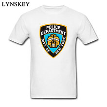 New York Politie Afdeling Logo T-shirt mannen Funky Slim Fit Puur Katoen Tops Tees Special Forces Star War groep Tshirt Mannen(China)