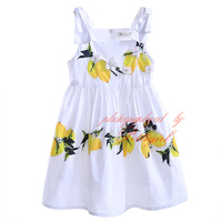 Pettigirl Fashionable Retail Lemon Print Strap Girls Dress Square Collar Baby Girl Clothes For Children GD90423-757F