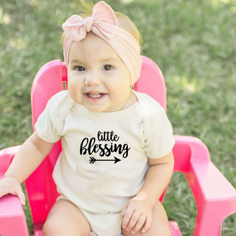 Little Blessing Baby Clothes Newborn Infant Babe Boys Girls Short Sleeve Bodysuit White Casual Playsuit Funny Cute Clothes