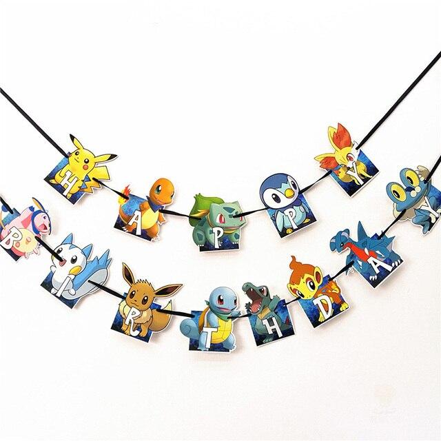 pokemon party bunting banner pikachu happy birthday flag banners kid
