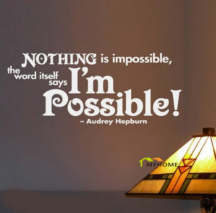 Nothing Is Impossible-PVC Wall Lettering Stickers Quotes and Sayings Home Art Decor Decal