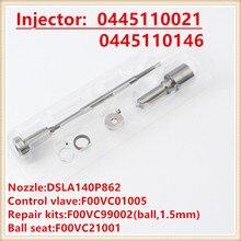 Injeções de 0445110021 0445110146 kits de reparação injector diesel F00VC01005 DSLA140P862 Bico, Válvula, anel de Vedação, junta de Bola, Bola assento