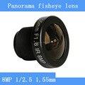 8MP 1/2. 5 HD 1.55mm CCTV lentes fisheye panoramic surveillance camera 185 graus lente grande-angular de infravermelho lente M12 rosca