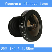 PU`Aimetis 8MP 1/2.5 HD 1.55mm CCTV lens fisheye panoramic surveillance camera 185degrees wide angle infrared M12 lens thread