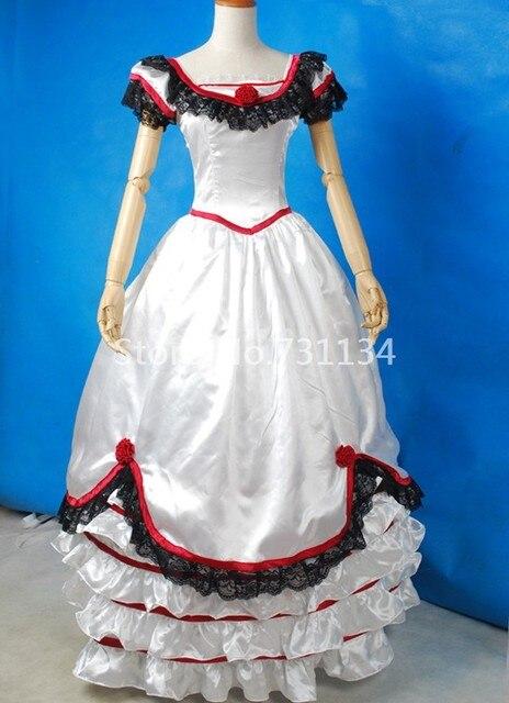 Elegante Mode Weiß Satin Spitze Rokoko Viktorianischen Tag Party ...