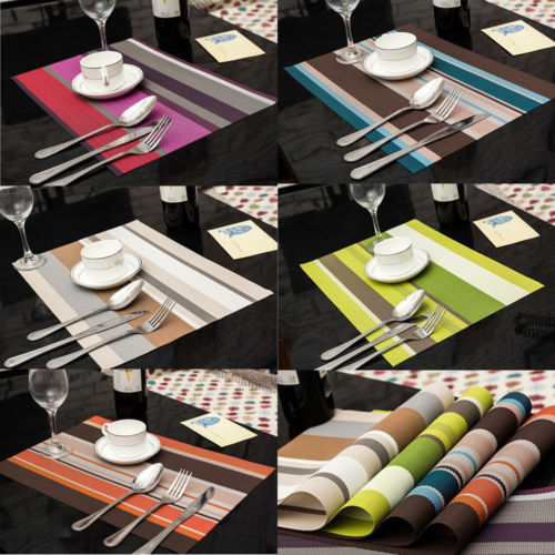 new 6pcs fashion home decro pvc insulation kitchen placemats striped place pad dining table mats. beautiful ideas. Home Design Ideas