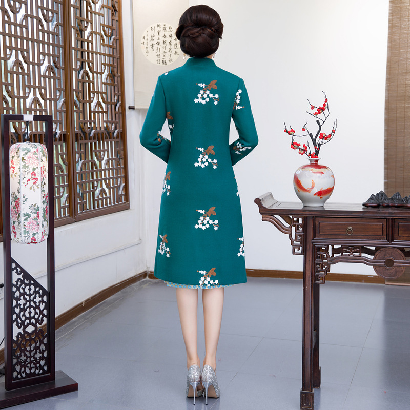 Mandarin Partie Ciel Chinois Col Cheongsam 2 Qipao Pu Genou Mince rouge Robes Robe 2018 Style Hiver Longueur Dames Ensembles Femmes Pc pqY8xH6awz
