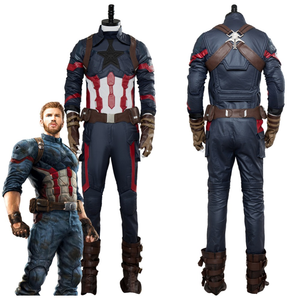 Avengers: Infinity War Cosplay Captain America Steven Rogers Costume Adult Men Steven Rogers Uniform Outfit Halloween Costumes