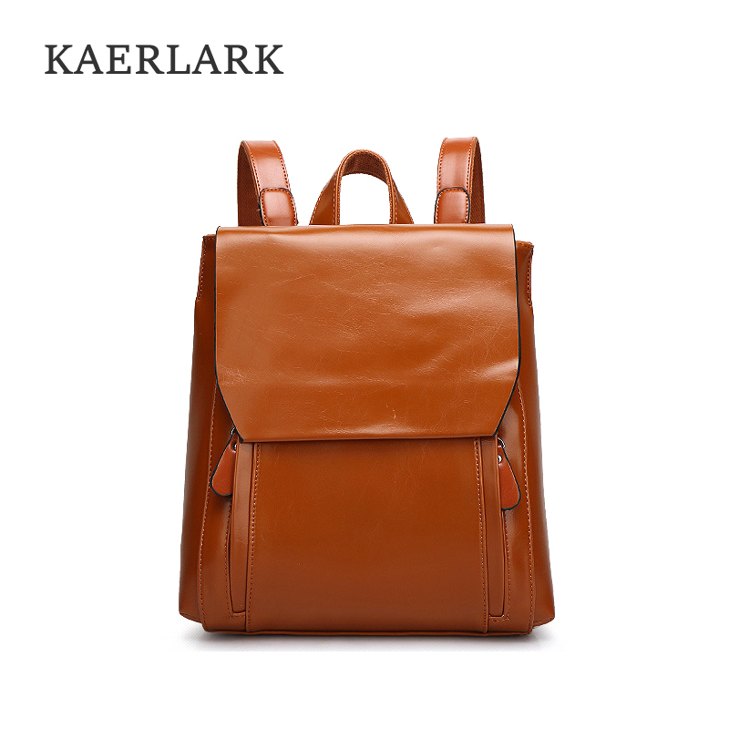 KAERLARK Brand New Fashion Women s PU Leather Female Backpack Wax School Bag For Girls Large
