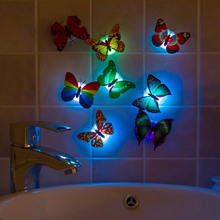 Wholesale Colorful Luminous Artificial Butterfly Night Light Home Party Wedding Decoration Lights Lamp Wall Stickers Kids Gifts