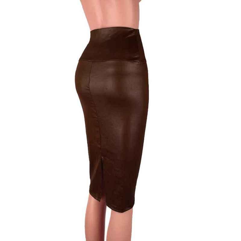 ホット 2019 女性ソリッドカラーのスカート秋冬レディースハイウエストパッケージヒップバックスリットペンシルスカートプラスサイズ S-3XL