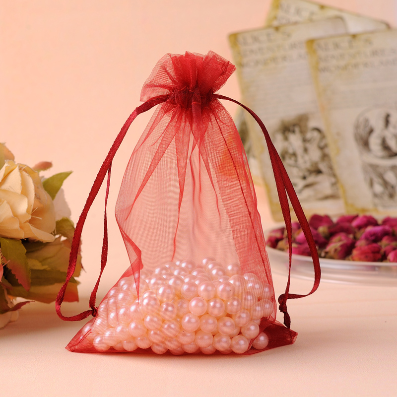 30x40cm Wine Red Color Gift Bags 100pcs/Lot Large Drawstring Organza Packaging Bags For  ...