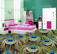 3d flooring Peacock feathers 3D floor painting waterproof wall murals pvc self adhesive wallpaper