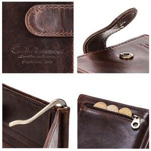 Image 5 - İletişim erkek çile tasarım erkekler cüzdan kısa para klip hakiki deri ince erkek kart düzenleyici Bifold cüzdan para çantası Carteras