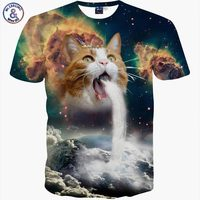 New Fashion Space Galaxy Men Brand T Shirt Funny Print Super Power Cat Jetting Water 3D