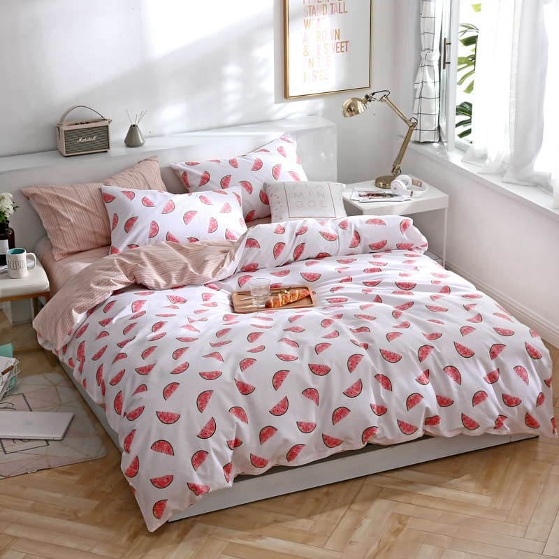 Cartoon Red Watermelon Pattern Bedding Set 3/4pcs Cotton Bedlinen Full Double Queen King Size Sheet Pillowcase Duvet Cover Sets Cartoon Red Watermelon Pattern Bedding Set 3/4pcs Cotton Bedlinen Full Double Queen King Size Sheet Pillowcase Duvet Cover Sets