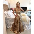 2017 de Encaje de Oro Brillante Vestido de Fiesta cristalino moldeado Una Línea Vestido de noche Largo en Dubai Saudita Por Encargo del desfile del vestido del partido
