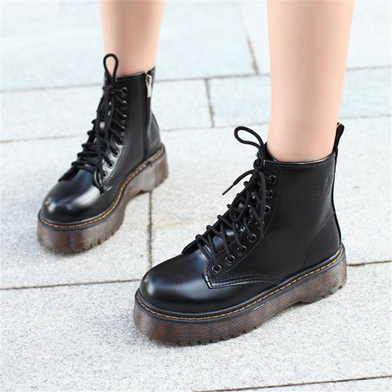 COOTELILI Botas Women Motorcycle Ankle Boots Wedges Female Lace Up Platforms Autumn Winter Leather Oxford Shoes