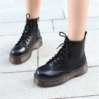 COOTELILI Botas de mujeres motocicleta Botas cuñas mujer de plataformas de Otoño de invierno de cuero de Oxford zapatos de mujer Zapatos de tacón alto