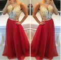 Sexy Beads Lace Gold Appliques Red Chiffon A Line Prom Evening Dresses Vestidos Long Party Formal Gowns Cheap Sheer Prom Dress