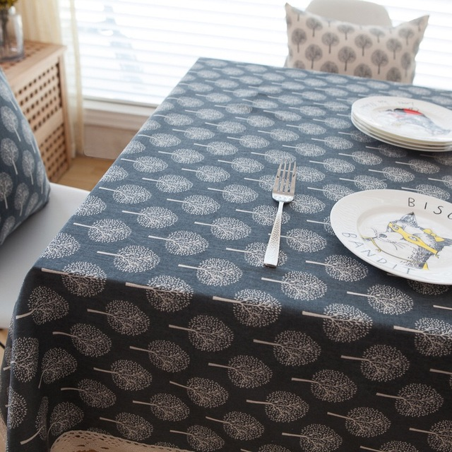 Linen TableCloth Nordic Simple Style Navy Ground Print High Quality  Tablecloth Table Cover Manteles Para Mesa