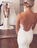Custom Brautkleid Vintage Sirena Del Cordón de la Playa Vestidos de Novia 2016 Sheer Vestidos De Boda Romántica vestidos de noiva robe de mariee
