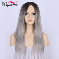 Ombre Wig Dark Roots to Silver Grey Wig Long Straight Synthetic Hair Wigs for Women with Bangs Glueless Heat Resistant Fiber