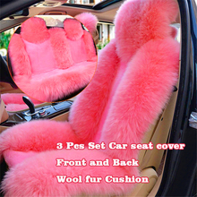 цена на Australian Genuine Sheepskin Universal Car Seat Cushion Car Front Seat Covers + Back Seat Cover
