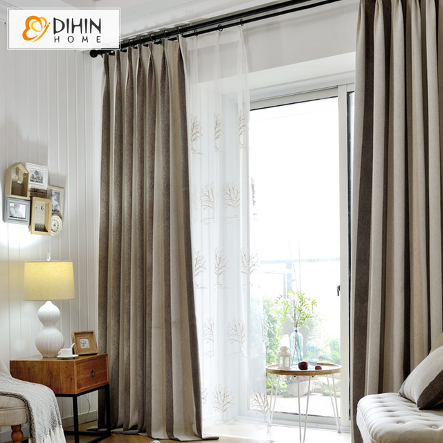 DIHIN HOME 1 PC Striped Modern Thick Curtains For Living Room Draps Window  Curtain
