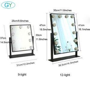 Image 2 - Miroir inclus, lampe de vanité tactile, lampe de table à intensité réglable, hollywood, pour maquillage et table lumineuse