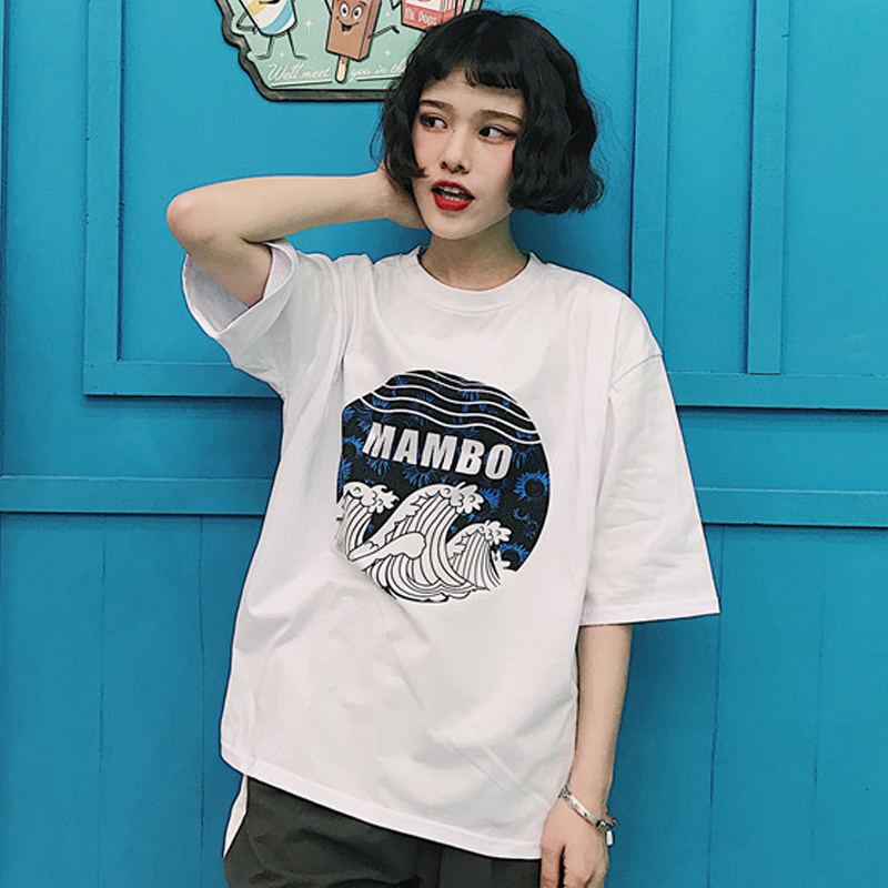 Women T Shirt Japanese Art Wave Printed Hokusai Kanagawa Loose Baggy Casual Boyfriend Style