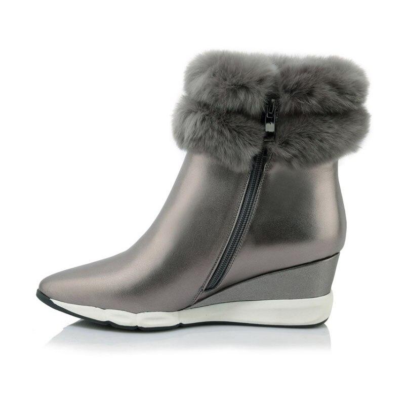 Gray Chaussures Offre Femmes Spéciale Fourrure Pointu En Neige De Bout Nouveau Confortable Pour Cheville Chaud Cuir Bottes Latérale Mode Coins Véritable Glissière black drCBshQtxo